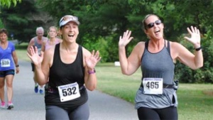 """The """"Racing to FINISH Sarcoma"""" Team: Board Member Jen Greenwood and her friend, Tracy."""